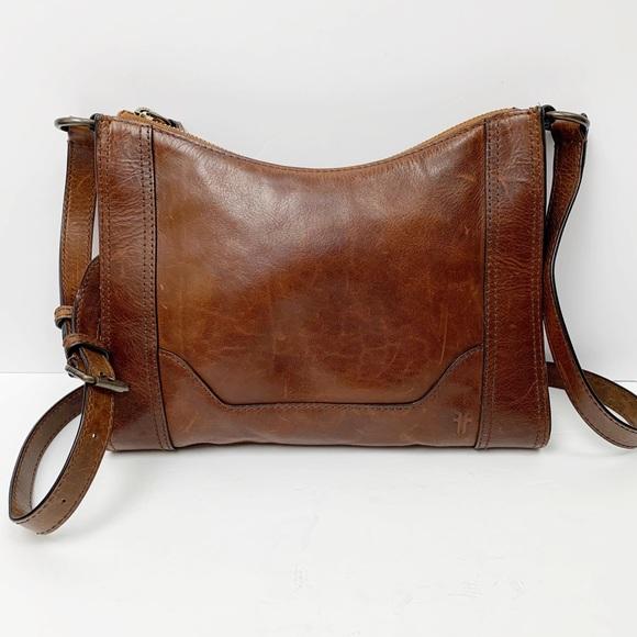 b12c9d07f7ae0b Frye Bags | Melissa Zip Leather Crossbody Bag Dark Brown | Poshmark